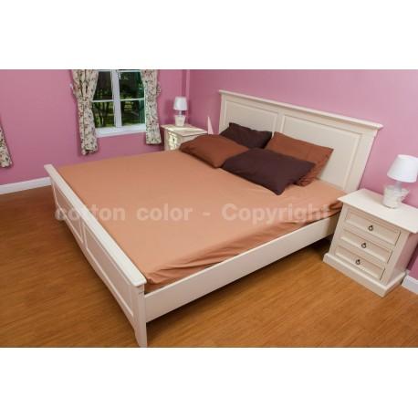 ผ้าปูที่นอน 6 ฟุต 100% cotton satin สี น้ำตาล 027