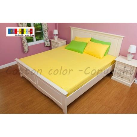 ผ้าปูที่นอน 6 ฟุต 100% cotton satin สี เหลือ 142