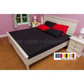 ผ้าปูที่นอน 3.5 ฟุต 100% cotton satin สี ดำ 002