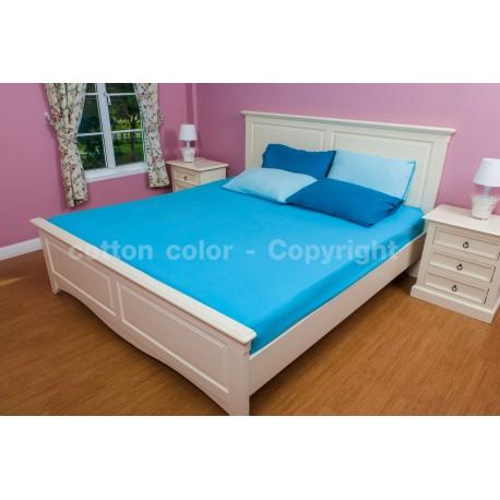 ผ้าปูที่นอน 3.5 ฟุต 100% cotton satin สี ฟ้า 107