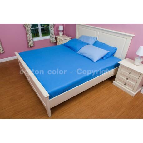 ผ้าปูที่นอน 3.5 ฟุต 100% cotton satin สี ฟ้า 105