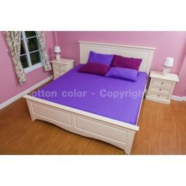 ผ้าปูที่นอน 3.5 ฟุต 100% cotton satin สี ม่วง 229