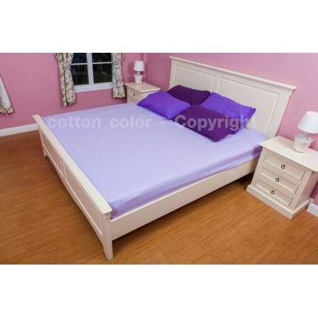 ผ้าปูที่นอน 3.5 ฟุต 100% cotton satin สี ม่วง 140