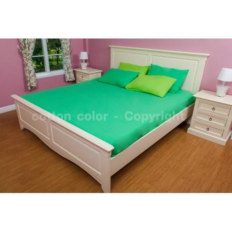 ผ้าปูที่นอน 5 ฟุต 100% cotton satin สี เขียว 014
