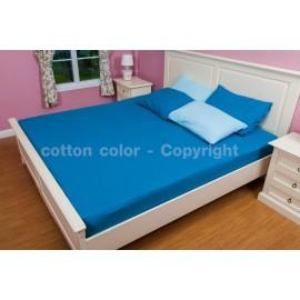 ผ้าปูที่นอน 5 ฟุต 100% cotton satin สี น้ำทะเล 136