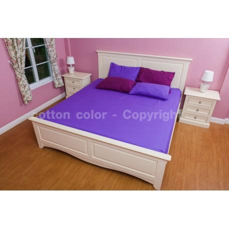 ผ้าปูที่นอน 5 ฟุต 100% cotton satin สี ม่วง 229