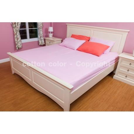 ผ้าปูที่นอน 5 ฟุต 100% cotton satin สี ชมพู่ 143