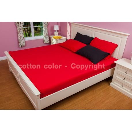 ผ้าปูที่นอน 6 ฟุต 100% cotton satin สี แดง 151