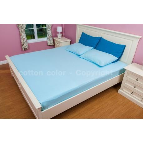 ผ้าปูที่นอน 6 ฟุต 100% cotton satin สี ฟ้า 131