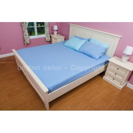 ผ้าปูที่นอน 6 ฟุต 100% cotton satin สี ฟ้า 024