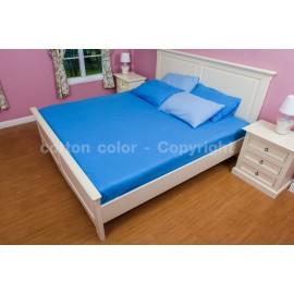 ผ้าปูที่นอน 6 ฟุต 100% cotton satin สี ฟ้า 105