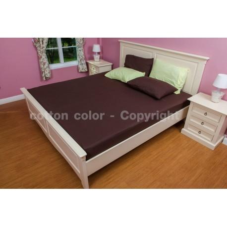 ผ้าปูที่นอน 6 ฟุต 100% cotton satin สี น้ำตาล 077